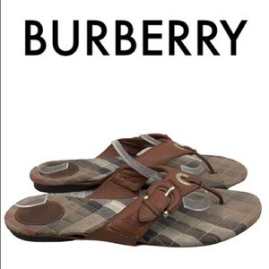 BURBERRY BROWN TAN THONG SANDALS SIZE 10.5